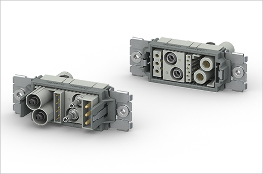 Modulární konektory vhodné pro montáž a údržbu - CombiTac direqt. Pro kombinaci různých typů napájení, signálních a pneumatických připojení v ručních a automatických spojovacích aplikacích, až 10 000 napojovacích cyklů.