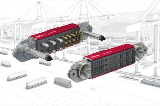 Le système de connecteurs modulaires CombiTac de Stäubli offre une nouvelle solution pour un rattrapage de jeu important qui permet d'économiser de l'espace et de gagner en flexibilité. Le côté mâle inclut des broches de guidage, les terminaisons du côté femelle sont coniques.
