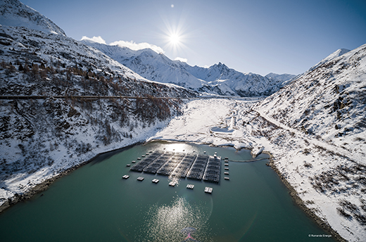 Lac de Toules with floating PV system in the Swiss Alps