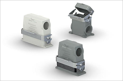 The new Stäubli DIN housings for the modular connector system CombiTac ensure high operator safety, high mating cycles and long-standing performance. They offer high ingress protection, 6 marking options, an operating temperature range of -40°C to +125°C and are resistant to vibration and shock.