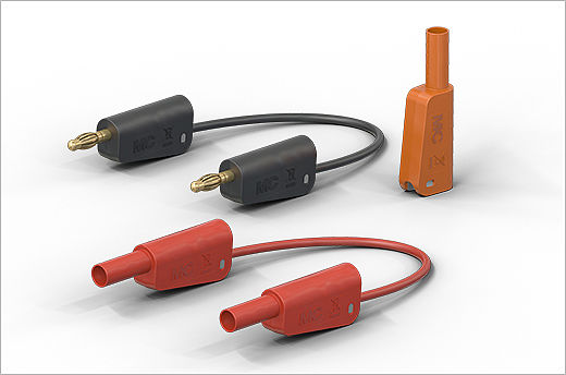 New stackable connector and test leads including orange safety color for e-mobility applications from Stäubli Electrical Connectors